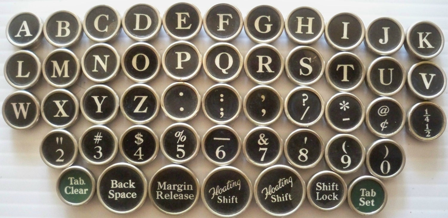 Old fashioned typewriter keys 34
