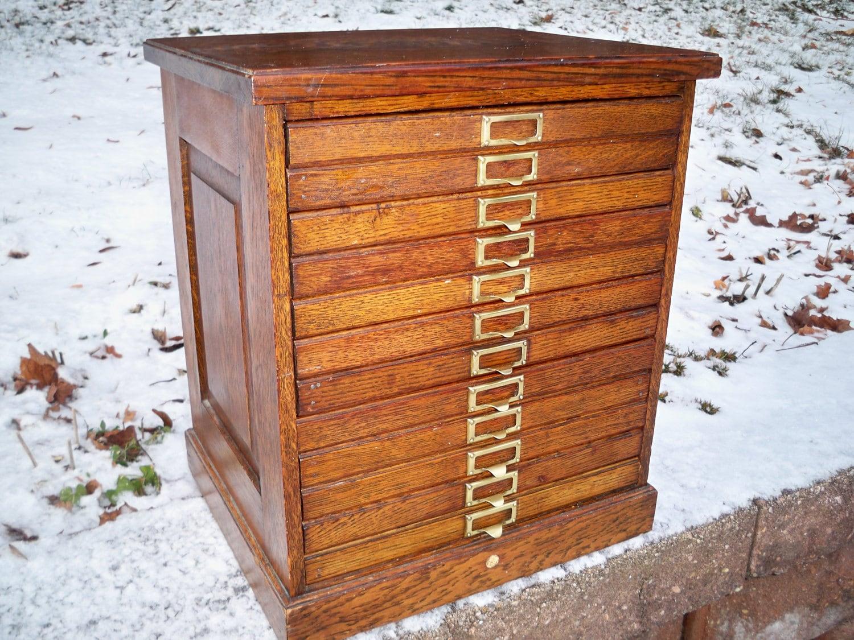 Rare Vintage 12 Drawer Solid Tiger Oak Dental Cabinet By Banjomdf. Full resolution  snapshot, nominally Width 1500 Height 1125 pixels, snapshot with #AD4E1E.