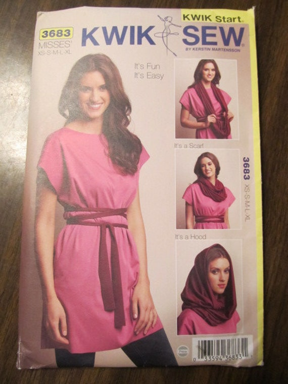 Kwik Start Kwik Sew 3683 Misses Tunic Scarf Hood Pattern