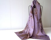 hand painted silk scarf lilac purple gold brown with poppy