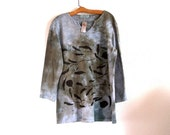 moody gray french terry cotton top hand dyed and printed with linden leaves