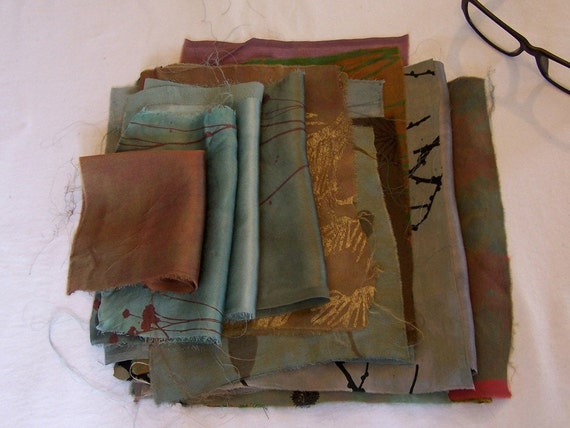silk fabric remnants hand dyed and printed collection number 14 blues grays greens yellows