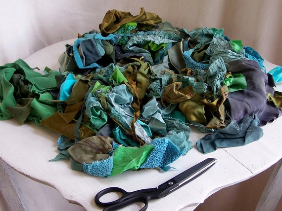 felting supplies small silk charmeuse and textured scraps hand dyed and printed collection number 8