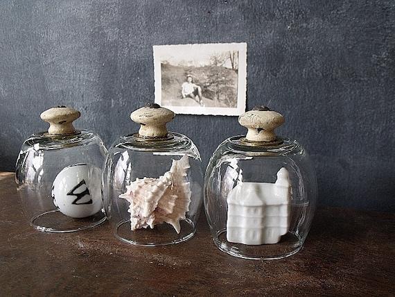 3 Vintaged Wooden Shabby Knob Glass Cloches
