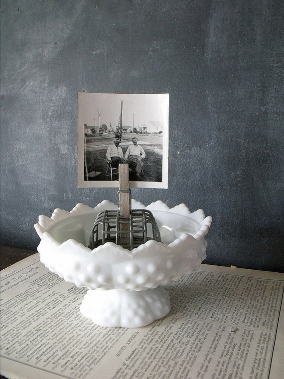 RESERVED FOR MARIE - Vintage Milk Glass Display Bowl/Candle Holder