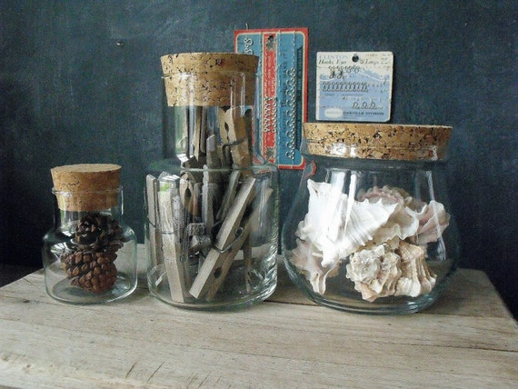 3 Vintage Apothecary Jars with Cork Lids