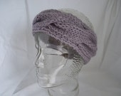 Headband ear warmers lavender lilac mauve cable pattern