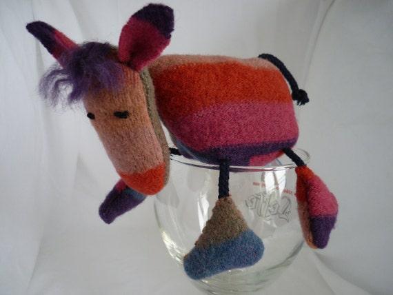 Felt horse pony, soft toy plush animal, hand made, upcycled from cashmere