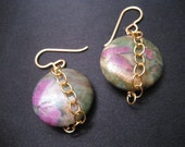 Chained Garden Earrings - pink stones, handmade semi-precious stone jewelry, gold fill, semi precious beads