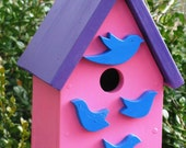 Mama and Her Babies - Wood Birdhouse, Bluebirds and Purple Heart, Upcycled Materials