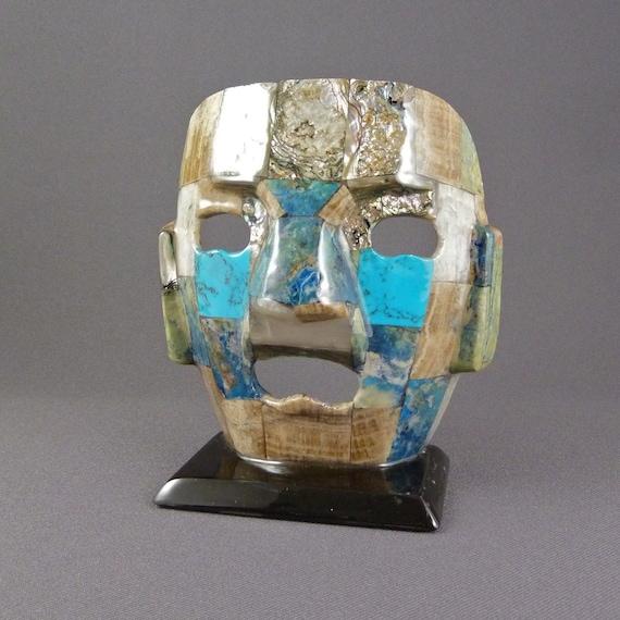 Vintage Mayan Abalone, Onyx and Turquesa Mask