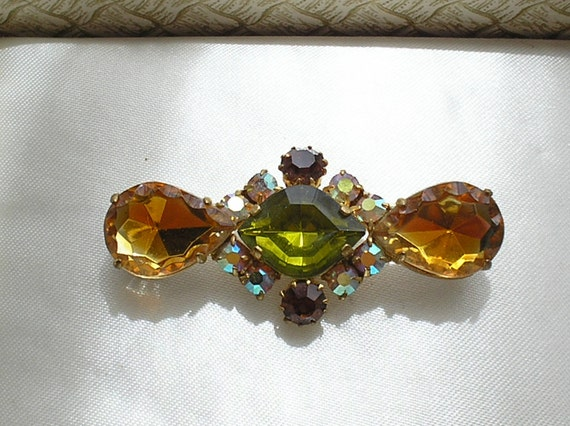 Vintage 1950s Topaz and Peridot Crystal Brooch
