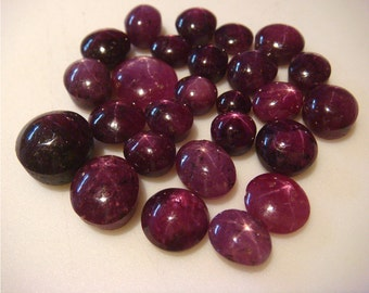 Star Ruby, Natural Star Ruby, Star Ruby Cabochon, Ruby Cabachon - 7x9mm To 5x7mm - 24 CTW - 6 Pieces Approx