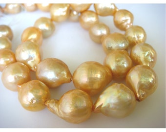 Natural Baroque Pearls - Natural Baroque Salt Water Pearls - Natural Golden Color - 2 Pieces - Approx 10mm Each