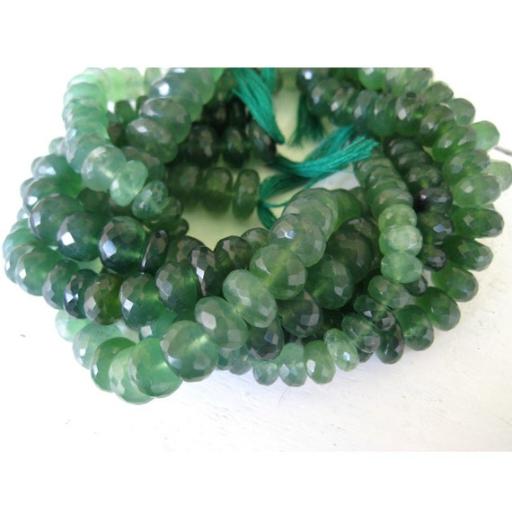 Wholesale Green Jade Lot - Green Jade Faceted Rondelles - 18mm - 8mm - 5 Strands - 9 Inches Each