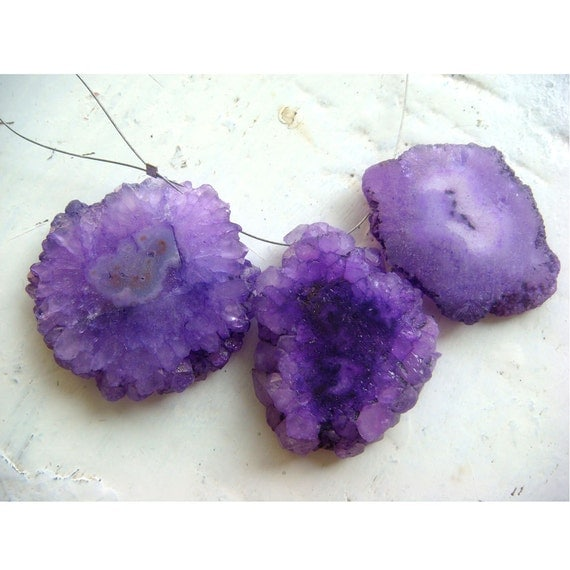 Purple Solar Quartz - Solar Quartz Colored Slices - 32x32mm To 32x25mm - 3 Pieces