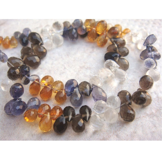 multi gemstone briolettes micro faceted tear by gemsforjewels