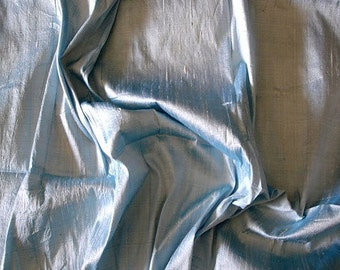 WHOLESALE OFFER 17% OFF - 10 Yards Light Blue 100 Percent Pure Silk Dupioni Fabric