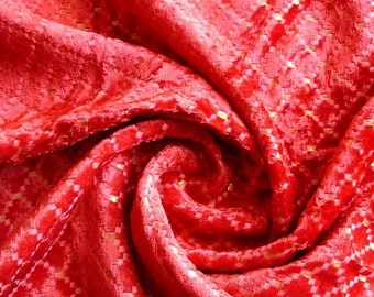 Red Checkers - Velvet Fabric With Gold Lurex Weaving
