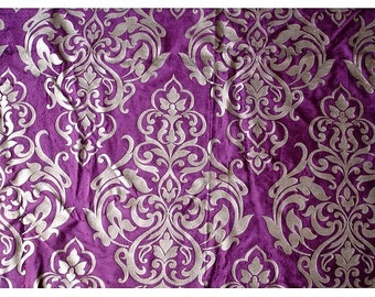 Damask Purple Velvet Fabric With Pearl Silver Printing