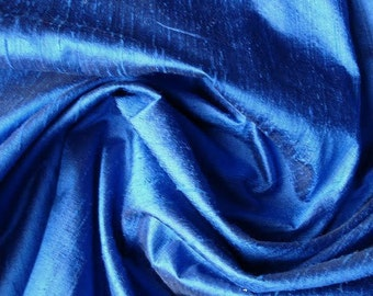 WHOLESALE OFFER 10% OFF - 6 Yards Royal Blue Color 100 Percent Pure Silk Dupioni Fabric