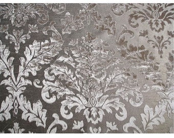Grey Damask - Burnout Velvet on Fancy Fabric