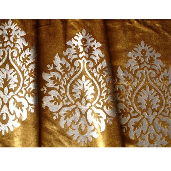 Antique Gold And Silver Glitter Printed Damask By Fabricmart