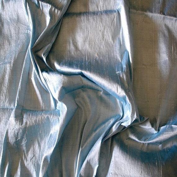 WHOLESALE OFFER 10% OFF - 6 Yards Light Blue 100 Percent Pure Silk Dupioni Fabric