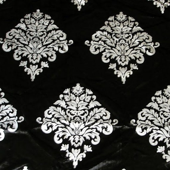 Silver Royale - Black Velvet Fabric With Silver Print And Glitter Technique