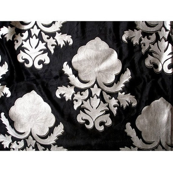 Silver Matte Printed Damask - Velvet Fabric With Glitter Printing