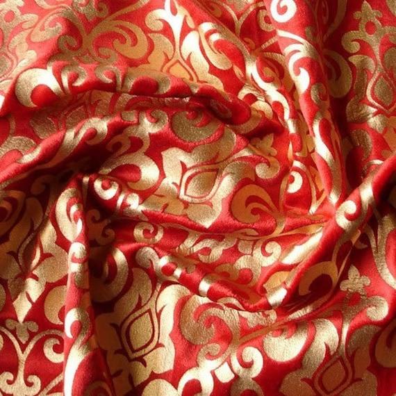 Red Damask Printed Velvet Fabric By The Yardvelvet Fabric