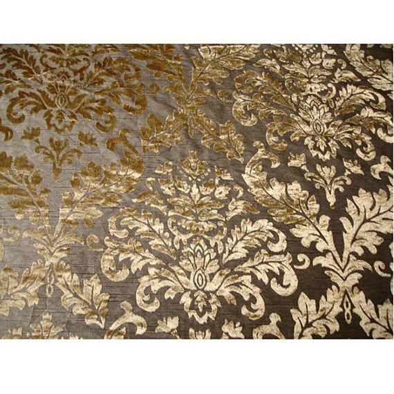 Light Gold Damask Burnout Velvet on Fancy Fabric by FabricMart