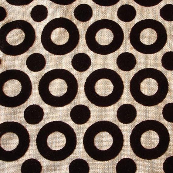 Chocolate Circles - Beige Burlap Jute Fabric With Chocolate Velvet Flocking