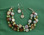 Jade and Brown Shell Bracelet with 14k Gold findings plus matching Earrings