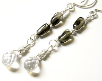Clear and Smoky Quartz Earrings- Silver, Long