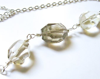 ICE Cube- Natural Quartz Necklace- Silver, Wire wrapped