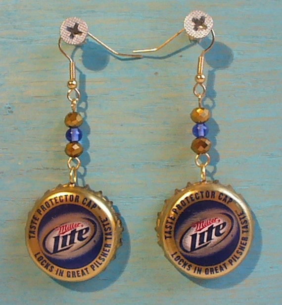 Miller light beer bottle cap jewelry earrings free us for Beer cap jewelry