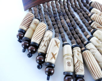 Gift Idea - Hair Barrette with Natural Wood, Carved Yak Bone, Clay, and Shell with matching Necklace