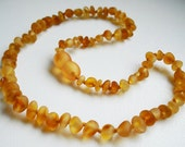 Raw Unpolished  Baltic  Amber Baby Teething  Necklace. Honey colour.