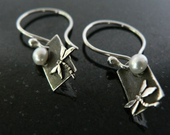 Dragonfly by Night Earrings // Stirling Silver // Dangle // Pearl // Summer Fashion // Christmas Gift //