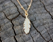 Gold Feather Necklace - 24K Gold Dipped Feather Pendant . 14K Gold Filled Satellite Chain . Native American Inspired