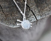 Knitting necklace - sterling silver knitting charm . ball of yarn and knitting needles . i love knitting - sevgicharms