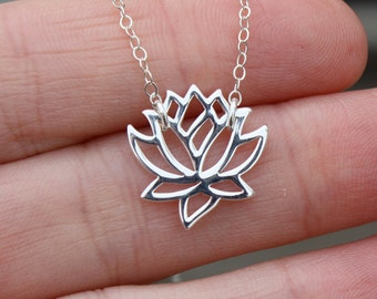 Lotus Flower Necklace - Yoga Jewelry . Sterling Silver . Outdoor & Sportsman . Gift Ideas for Her
