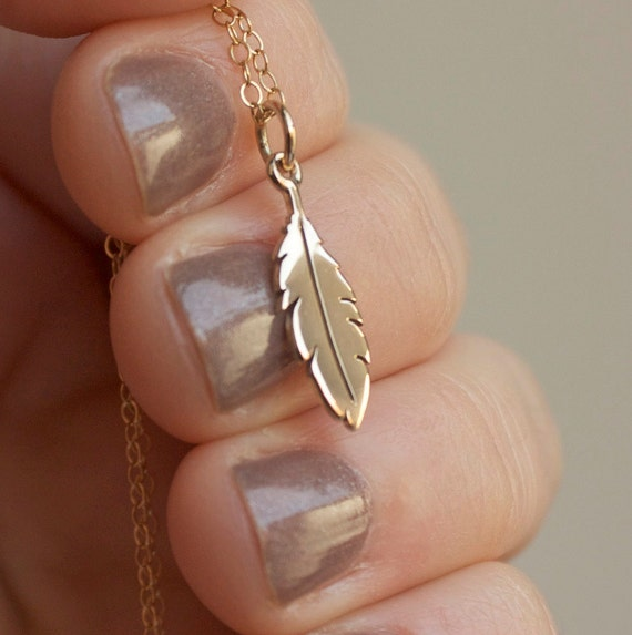 Feather Necklace - Gold Feather Charm . 14K Gold-Filled Chain . Bohemian Festival Jewelry . Gift Ideas for Her, Best Friends, Free Spirit