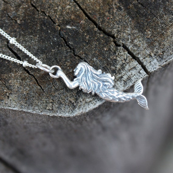 Mermaid Necklace - Sterling Silver Mermaid Pendant . Womens Jewelry . Nautical Fashion . Beach