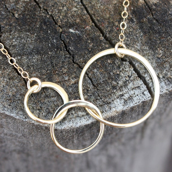 linked circle necklace gold three circles by sevgicharms