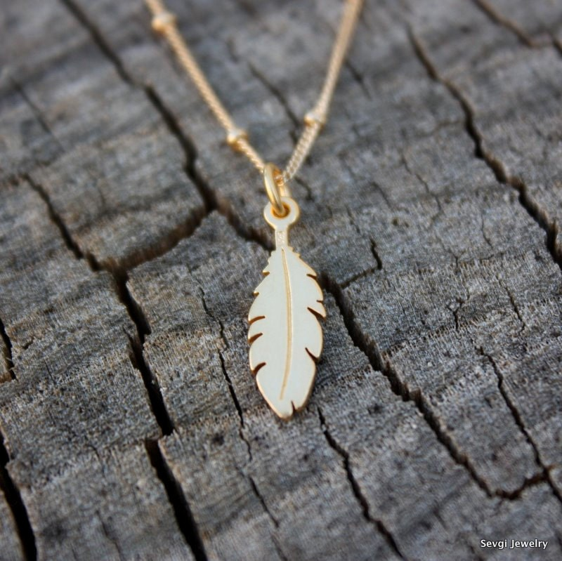 Gold Dipped Feather Necklace Gold Feather Necklace 24k