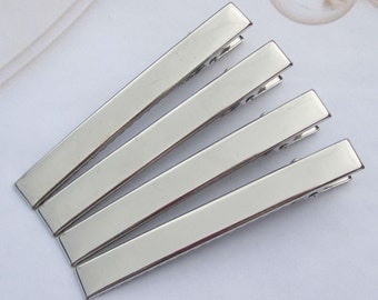 50PCS--80x9mm Silver plated flat large metal hair alligator clip