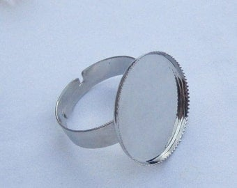 50pcs Shiny Silver Ring Base Adjustable with 20mm Round Pad