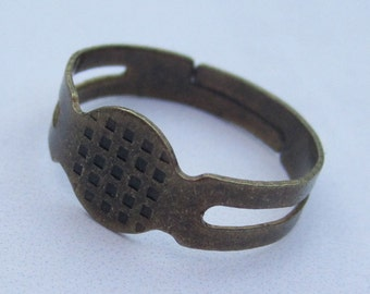30pcs antique bronze Ring Base Adjustable with 8mm Round Pad
